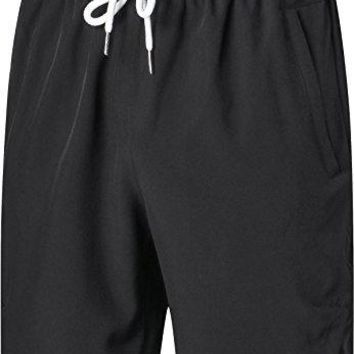 Mens Shorts - Quick Dry Stretchable Athletic Shorts for Running, Training, Workout – Swim Trunks for Watersports Swimming (M, Black)