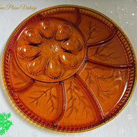 Indiana Glass Pebble Leaf Amber Egg Relish Plate Tray Vintage