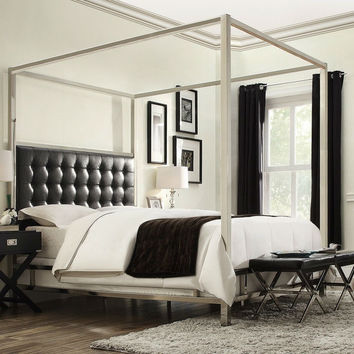 King Size Metal Canopy Bed with Black Faux Leather Upholstered Headboard