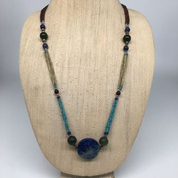 "47.9g, 2mm-30mm,Lapis Nephrite Jade Beaded Necklace @Afghanistan,29"", NPH81"