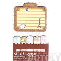 Large Eiffel Tower Suitcase Shaped Travel Themed Memo Pad Post-it Index Sticky Tabs | Cute Affordable Stationery