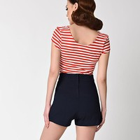 Unique Vintage 1950s Red & White Striped Cap Sleeve Marty Knit Top