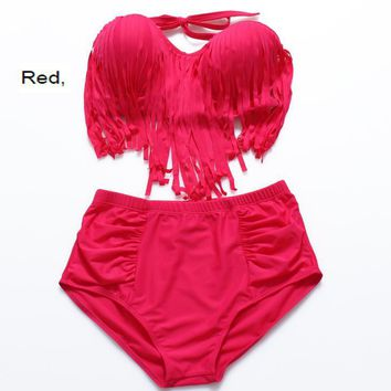 (12 color)Plus sexy women pure color orange gather type chest tassel strapless back knot high waist two piece bikini swimsuit