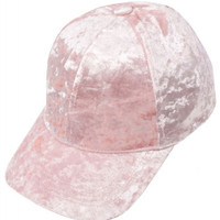 Crushed Velvet Pink Valentine's Day Baseball Hat