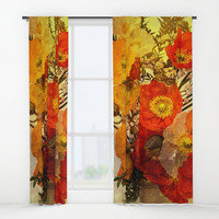 Poppy Expressions Window Curtains by Theresa Campbell D'August Art