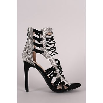 3c3deec695e0 Shoe Republic LA Python Strappy Stiletto Heel