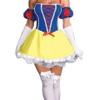 Amour- Sexy Snow White Princess Costume Dress /W Headpiece & Sleeves Halloween