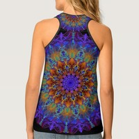 Peacock-colors romantic mandala ornament arabesque tank top