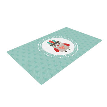 "Daisy Beatrice ""Hipster Owlet Mint Coral"" Teal Woven Area Rug"