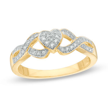 Diamond Accent Heart Split Shank Promise Ring in Sterling Silver and 10K Gold Plate