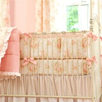 Shabby Chenille Crib Bumper with Ruffle