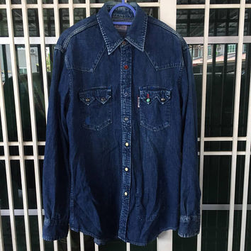 Blue Blue Japan Denim Western Sawtooth / Snap button / Button ups Shirt