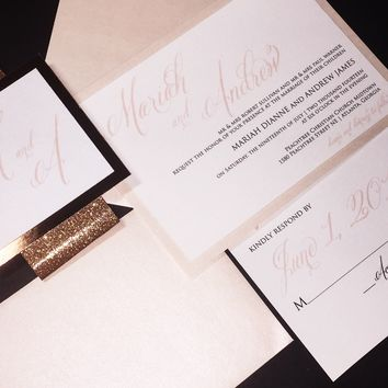 Blush and Rose Gold Glitter Wedding Invitation Set - MARIAH VERSION