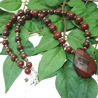 Red Poppy Jasper Necklace with Faceted Teardrop Gemstone OOAK Necklace