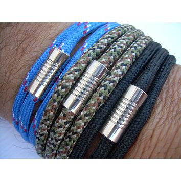 Mens Leather Bracelet, Alternative, Vegan, Paracord Bracelet, Stainless Steel Magnetic Clasp, Triple Wrap,