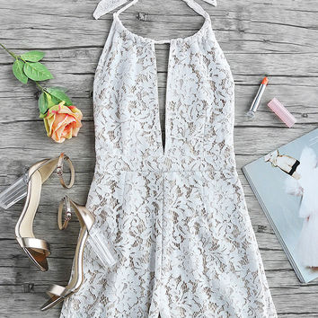 Sexy Lace Backless Hollow Halter Romper Jumpsuit