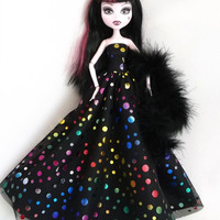 Handmade Monster High Dress Gown Black Metallic Dots