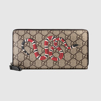 Gucci Kingsnake print GG Supreme zip around wallet