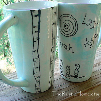 Birch bunnies custom family mug personalized fathers day gift and more