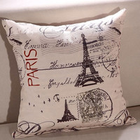 Home Decorative Cotton Linen Pillowcase Throw Pillow Cushion Cover Famous Paris Eiffel Tower = 1930549892