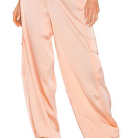 KENDALL + KYLIE Satin Cargo Pant in Blush | REVOLVE