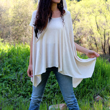 Off The Shoulder Bamboo Tee - Oversized Sexy Summer Hooded Top - Eco Friendly