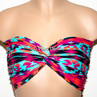 Aztec Tribal Twisted Bandeau, Tribal Swimwear Bikini Top, Spandex Bandeau Bikini in Turquoise, Black, Fuchsia & Orange