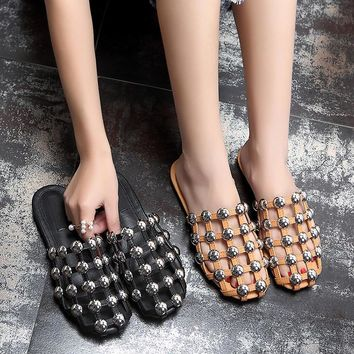 LTTL 2017 Summer Zapatos Mujer Amelia Designer Shoes Woman Slippers Cut-outs Caged San