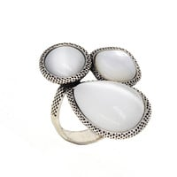 Dear Deer White Gold Plated Vintage Moonstone Cocktail Ring - Size 7