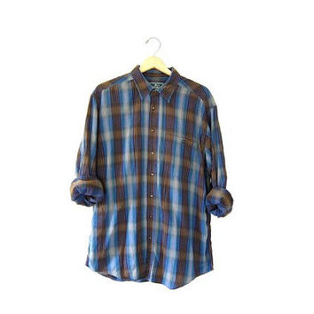 Slouchy 90s Vintage Plaid Flannel Cotton Grunge Shirt Button up Preppy Boyfriend Shirt Tribal Tomboy Blue Yellow Purple Green / size Large