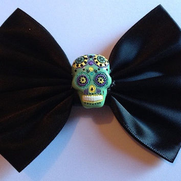 Day of the Dead Hair Bow Hairbow Mexican Sugar Skull Goth Gothic Emo Punk Rockabilly