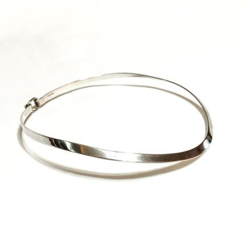 Sterling Silver Choker, Mexican Sterling Silver Necklace, Thin Choker Necklace, Mexican Hallmark, 1970s, Vintage Jewelry