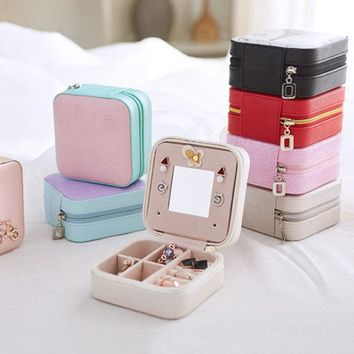 Portable Travel Jewelry Storage Box Leather Earring Rings Stoage Container