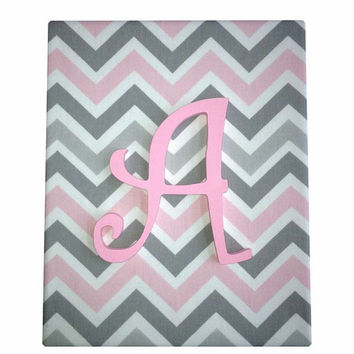 Upholstered Wood Letter Name / Chevron Damask / Baby Girl Nursery Decor / Pink Gray White Premier Prints Bella Storm