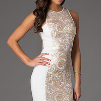 Knee Length Sleeveless Sequin Embellished Dress