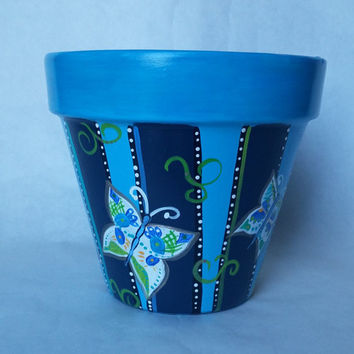 Butterfly flower pot, hand painted pot, blue clay pot, striped pottery, patio flower pot, outdoor patio decor, blue butterfly pot, blue pot