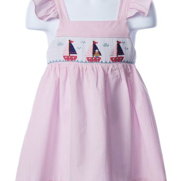 Zuccini Girl's Smocked Sailboat Apron Dress