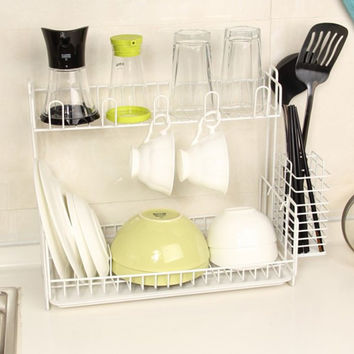 Double Layer Dish Draining Metal Storage Rack