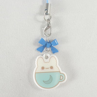 Bunny, rabbit, latte, food, dessert, phone charm, cute, kawaii, anime, zipper charm, keychain, acrylic charm, blue
