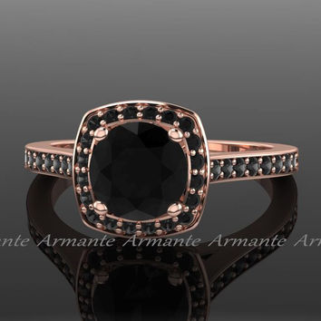 Black Diamond Engagement Ring, Unique Black Diamond  Ring, 14k Rose Gold Filigree Ring. Re0008