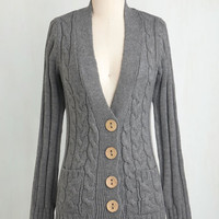 Rustic Mid-length Long Sleeve Your Fireside of the Story Cardigan in Charcoal