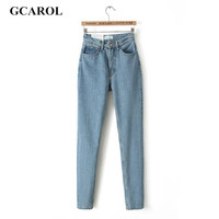 GCAROL 2017 Women High Waist Denim Jeans Vintage Slim Mom Style Pencil Jeans High Quality Denim Pants Plus Size 29 For 4 Season