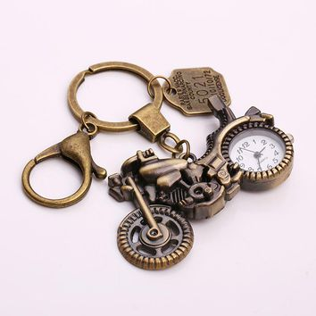 Kupla Vintage Motorcycle Pocket Watch Keychain Fashion Steampunk Key Chains Letter Tag Clock Keychain for Men Gift