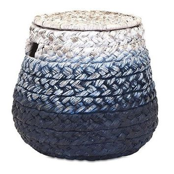 Bulb Lidded Braided Blue Storage Basket