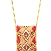 Pink Aztec-Beaded Statement Necklace by Charlotte Russe
