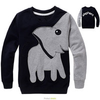 Spring autumn Fashion Boys Girls Sweatshirts Of plush Long Sleeve Print Cartoon Elephant Kids Jackets Hoodies Sweatshirt