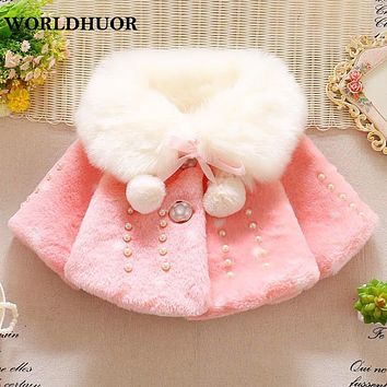 WORLDHUOR Baby Girls Jackets Winter Clothing Faux Fur Coat For Girls White Velet Baby Costume Infant fur coat For Girls 0-3 Year