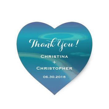 Vintage Tropical Ocean Beach Wedding Thank You Heart Sticker