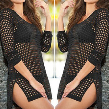 Beach cover up Brand  Summer Women Sexy Mesh Knitted Crochet Swimsuit Dress Bikini Wrap Bathing Suit Cover Ups