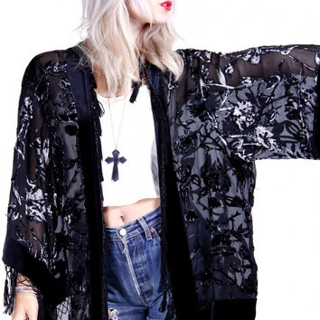 Vintage Velvet Burnout Duster Wrap